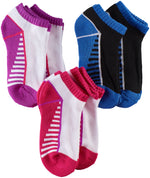 Girls Sport Low Cut Socks, White/Purple/Black (Pack of 6)