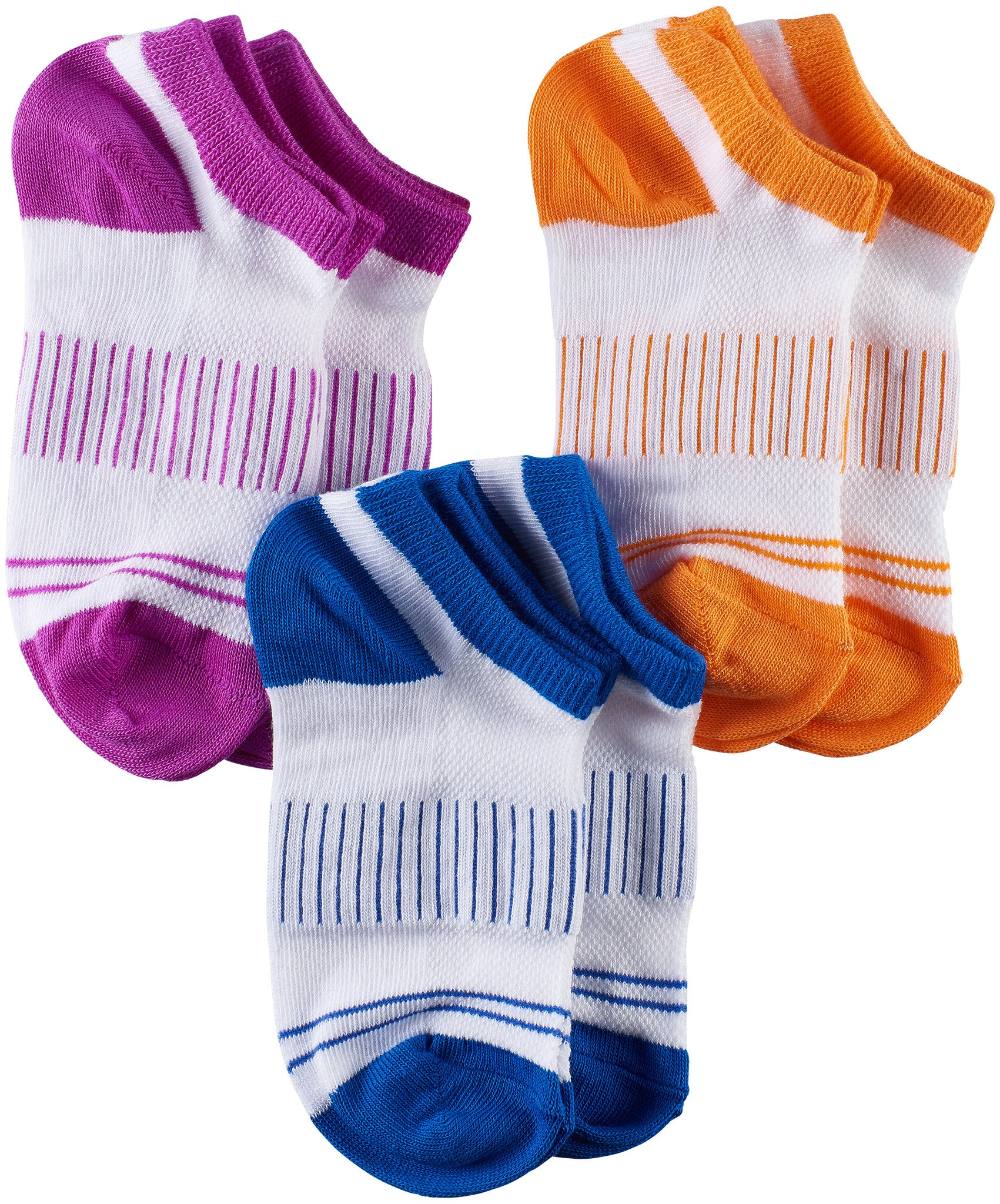 Girls Sport Low Cut Socks, Purple/Navy/Orange (Pack of 6)