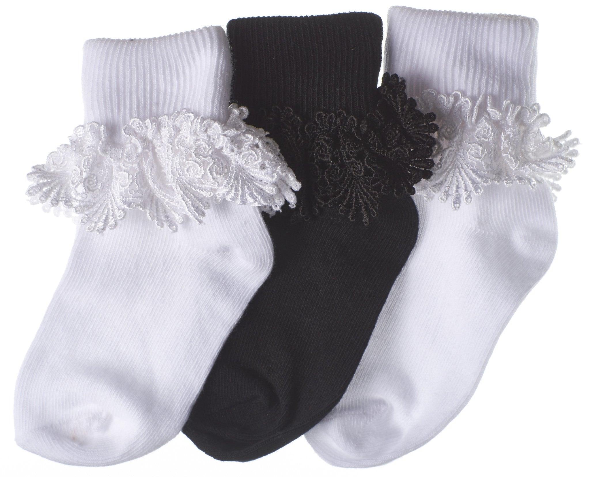 3-Pack Shiny Scallop Lace Turncuff Toddler Girls Socks (White/Black/White)