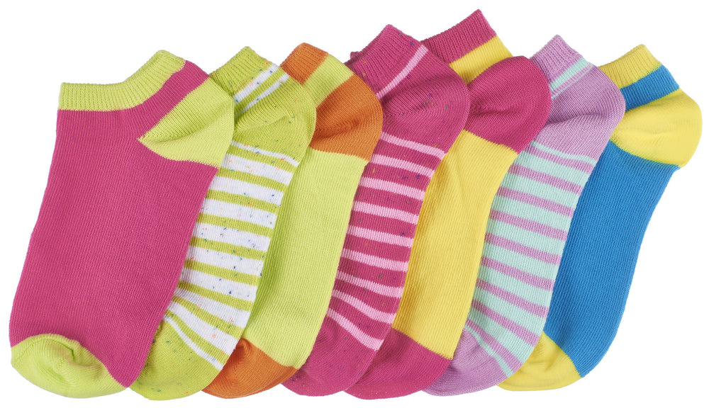 7-Pack Colorful Stripe & Fleck Low Cut Girls Socks
