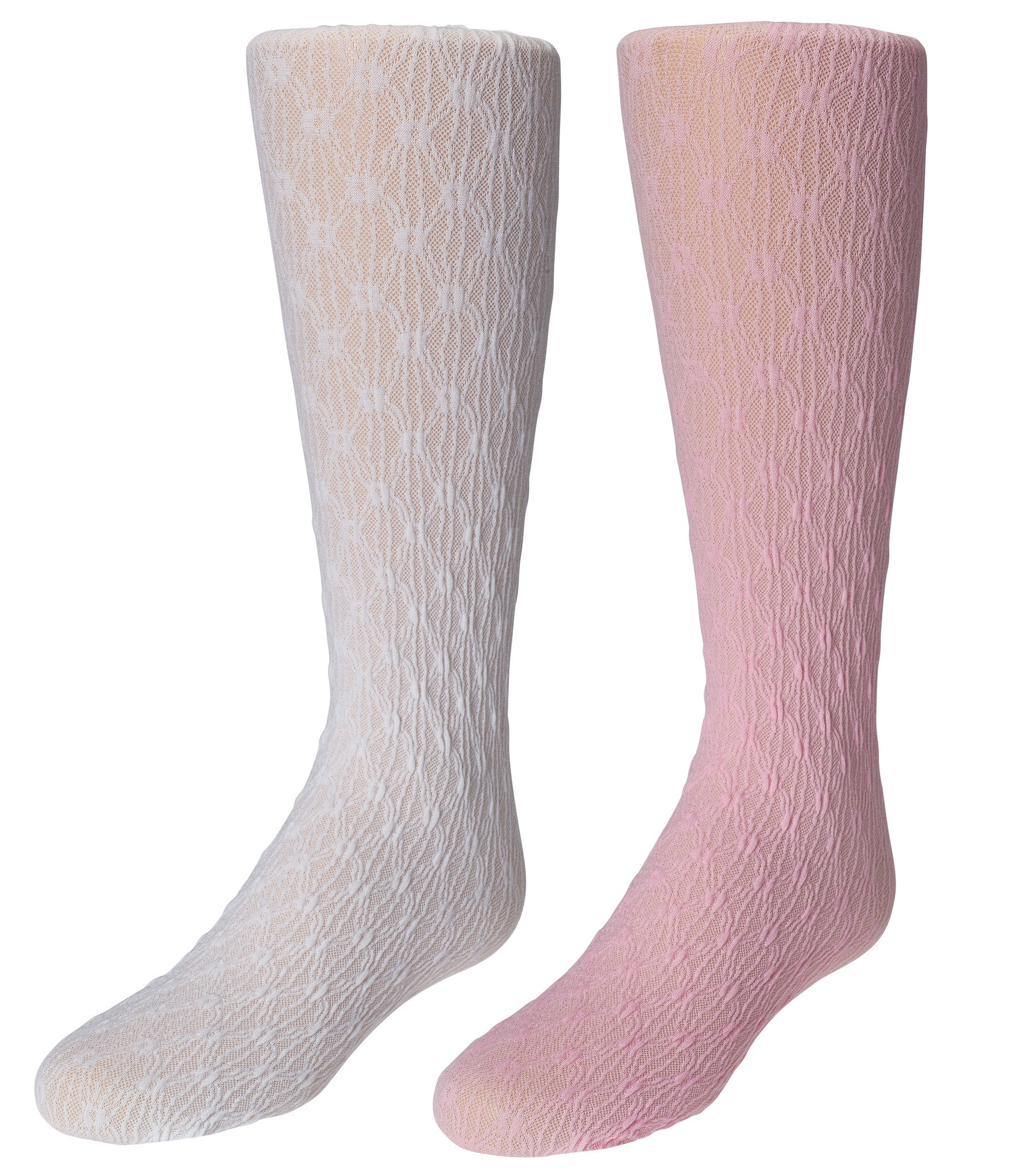 2-Pack Trimfit Floral Diamond Texture Tights