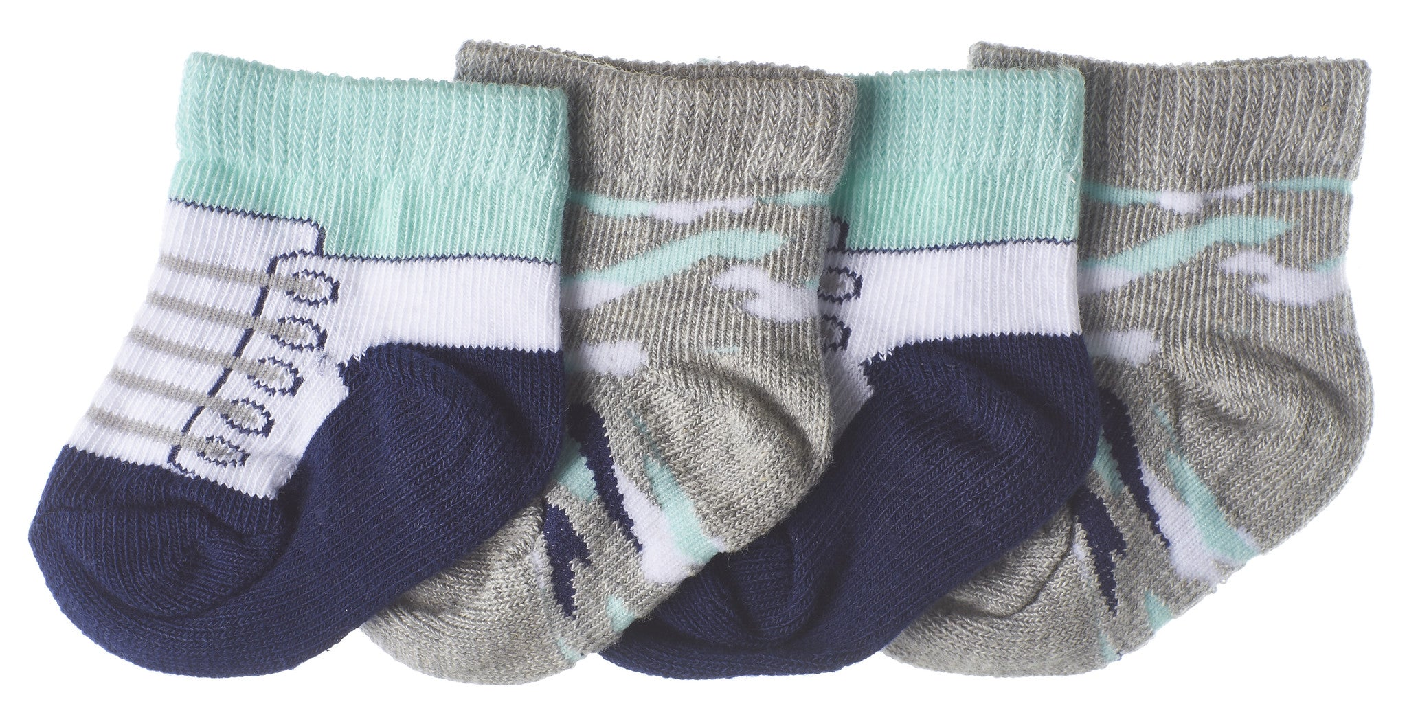 4-Pack Sneaker & Blue Camo Infant Boys Booties