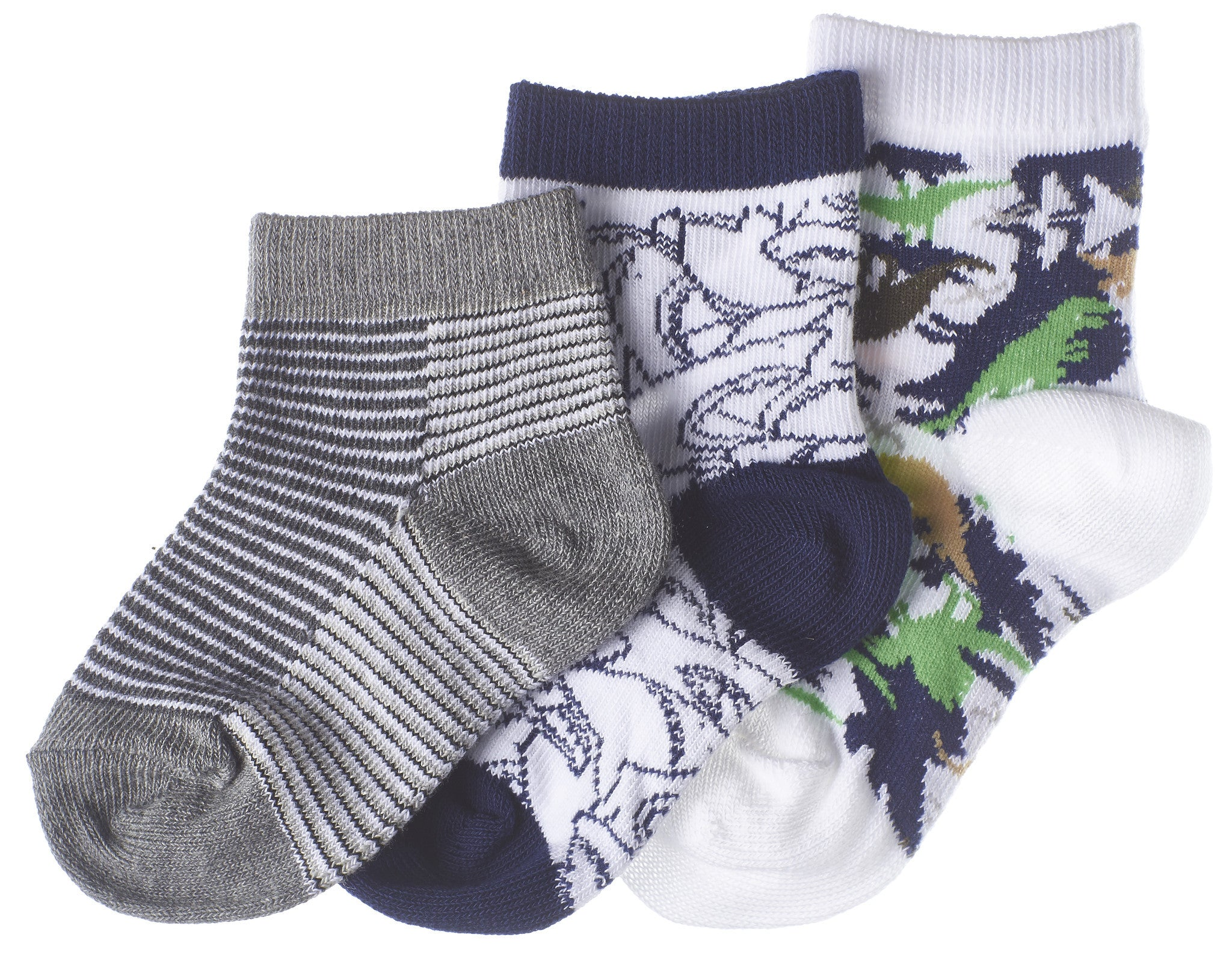 3-Pack Shark, Dinosaur, Stripe Toddler Boys Socks