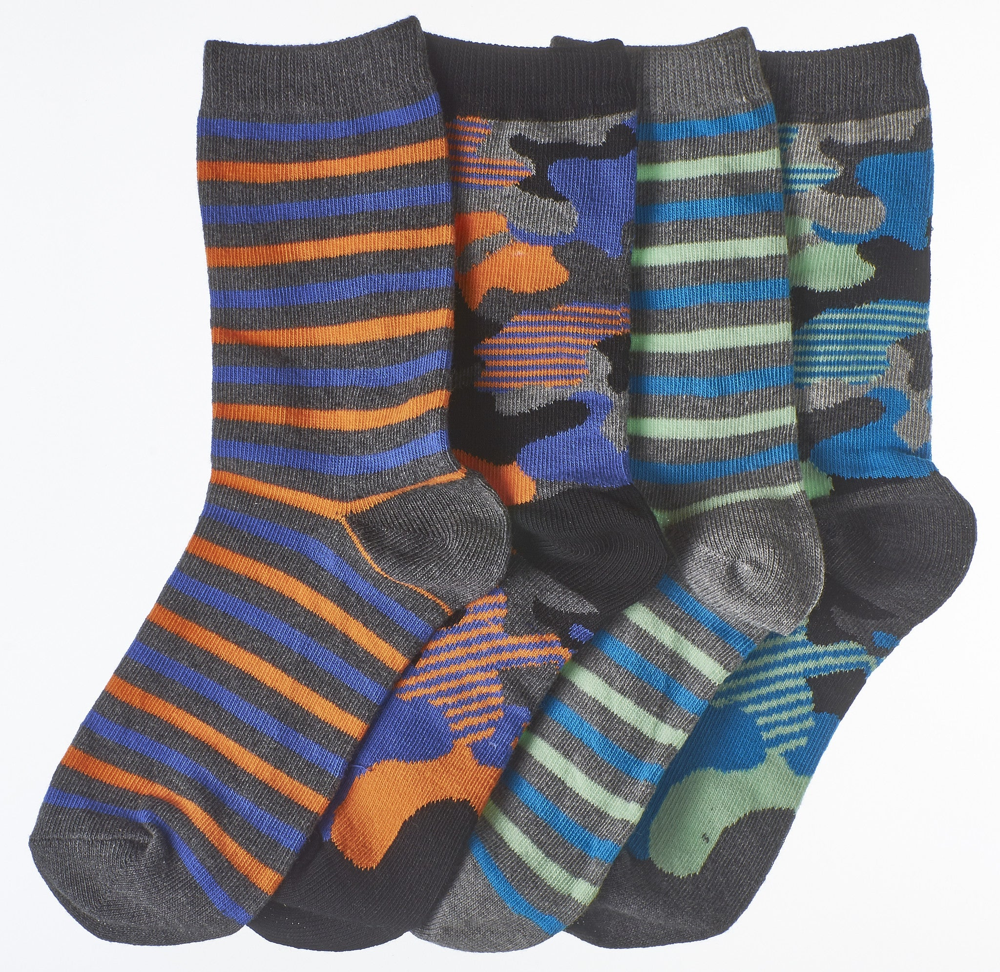 4-Pack Urban Camouflage & Stripes Boys Crew Socks