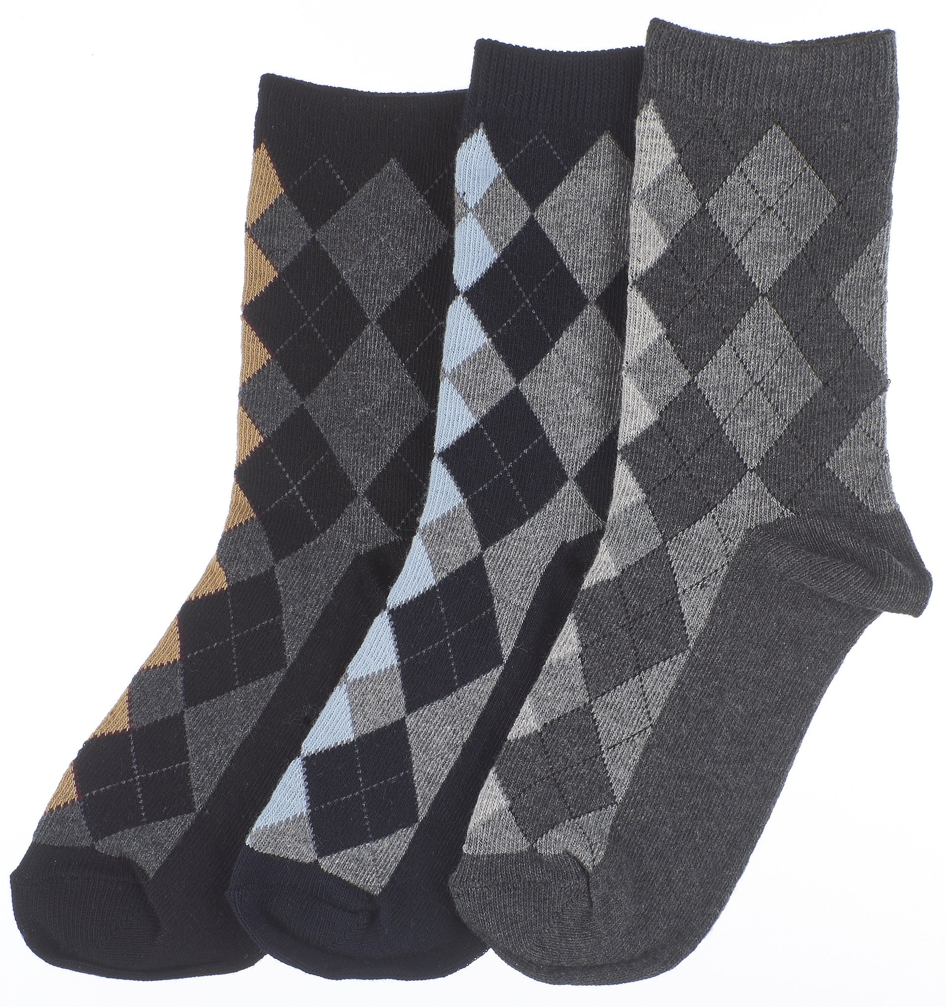 3-Pack Classic Panel Argyle Boys Crew Socks (Navy/Oxford Grey/Black)