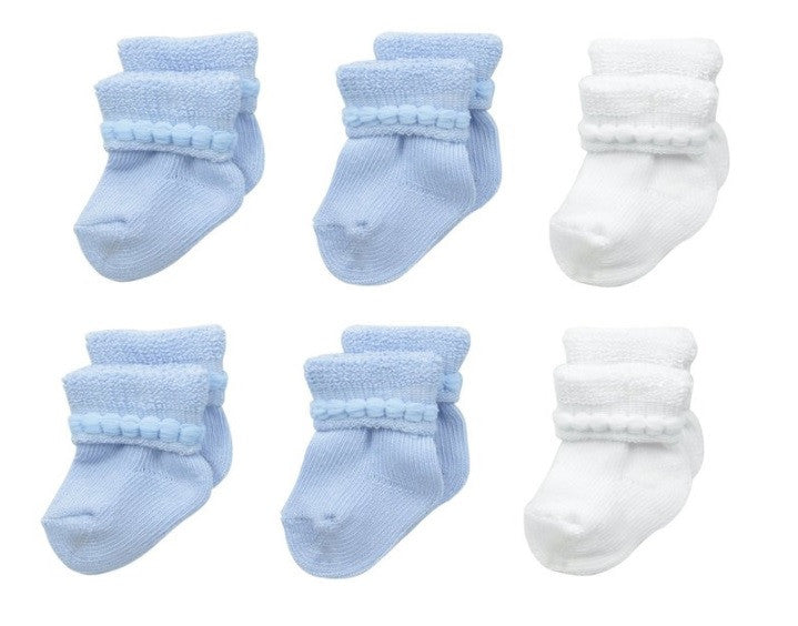 6-Pack Cotton Infant Bootie (White/Powder Blue)