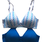 Girls 2-Pack Lightly Lined Wirefree Cotton Bra (Diagonal Hearts/Blue)