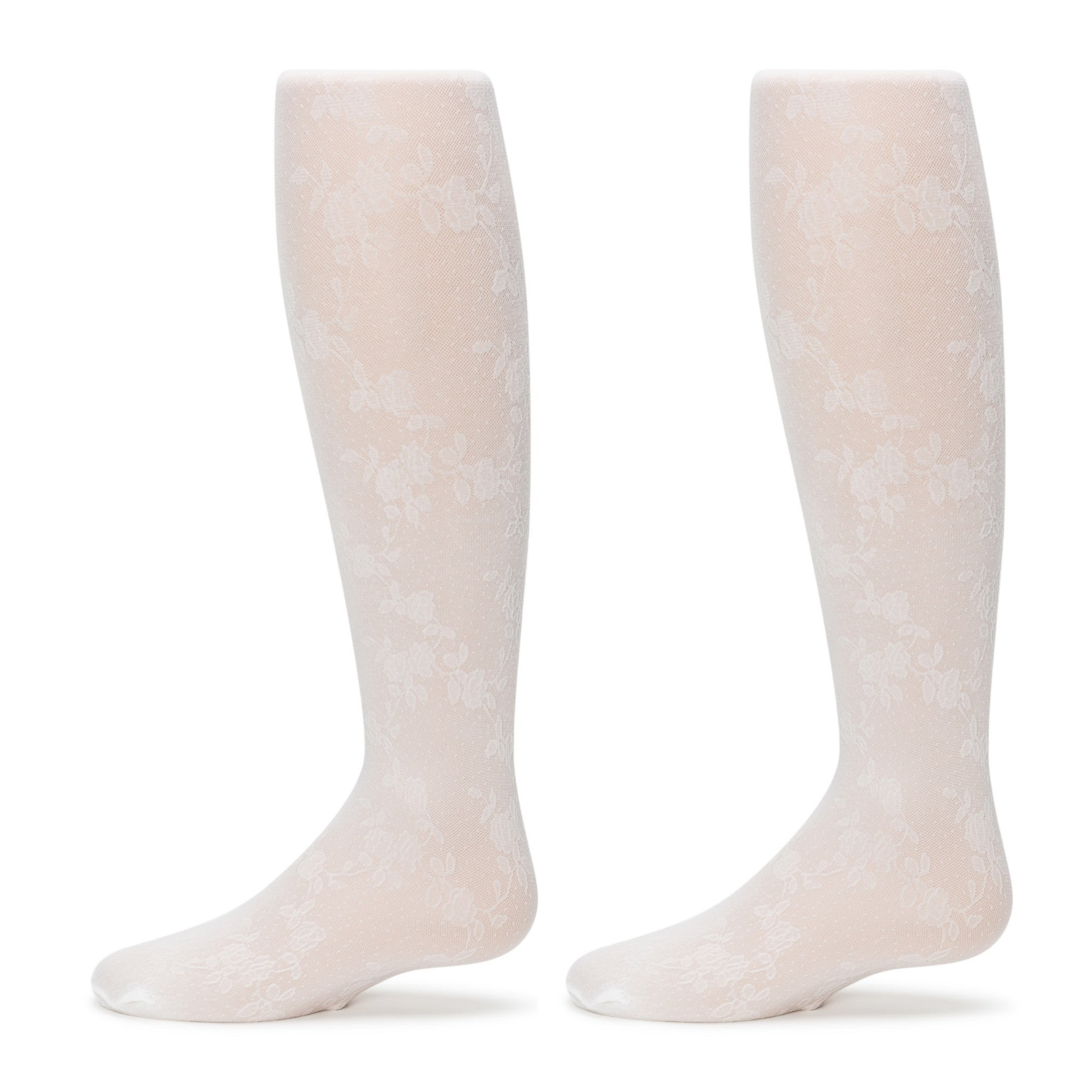 4-Pack Floral Vine Tights (White)