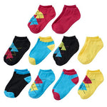 10-Pack Argyle Heal & Toe Accent Color Girls Socks