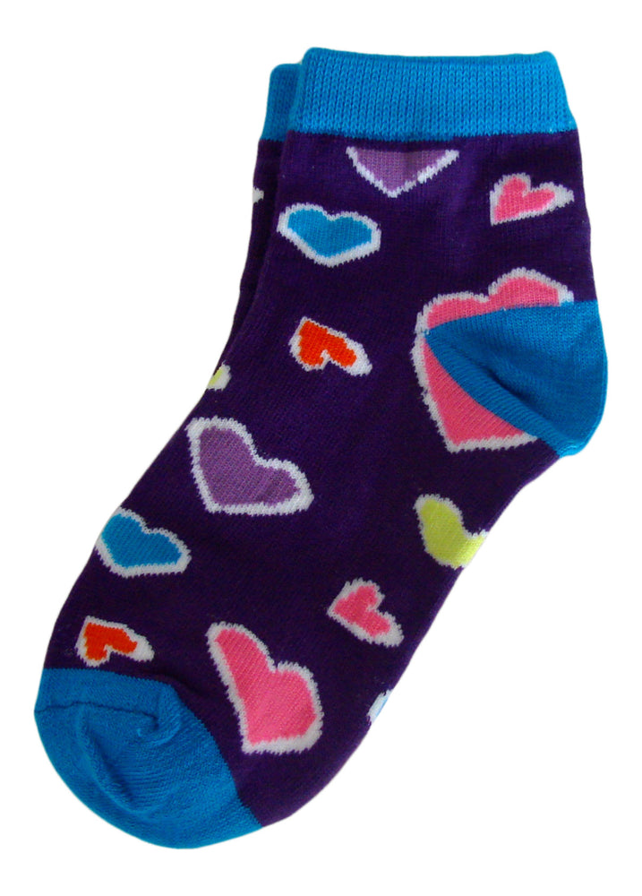 6-Pack Fashion Heart Buttons Stripes Printed Girls Socks