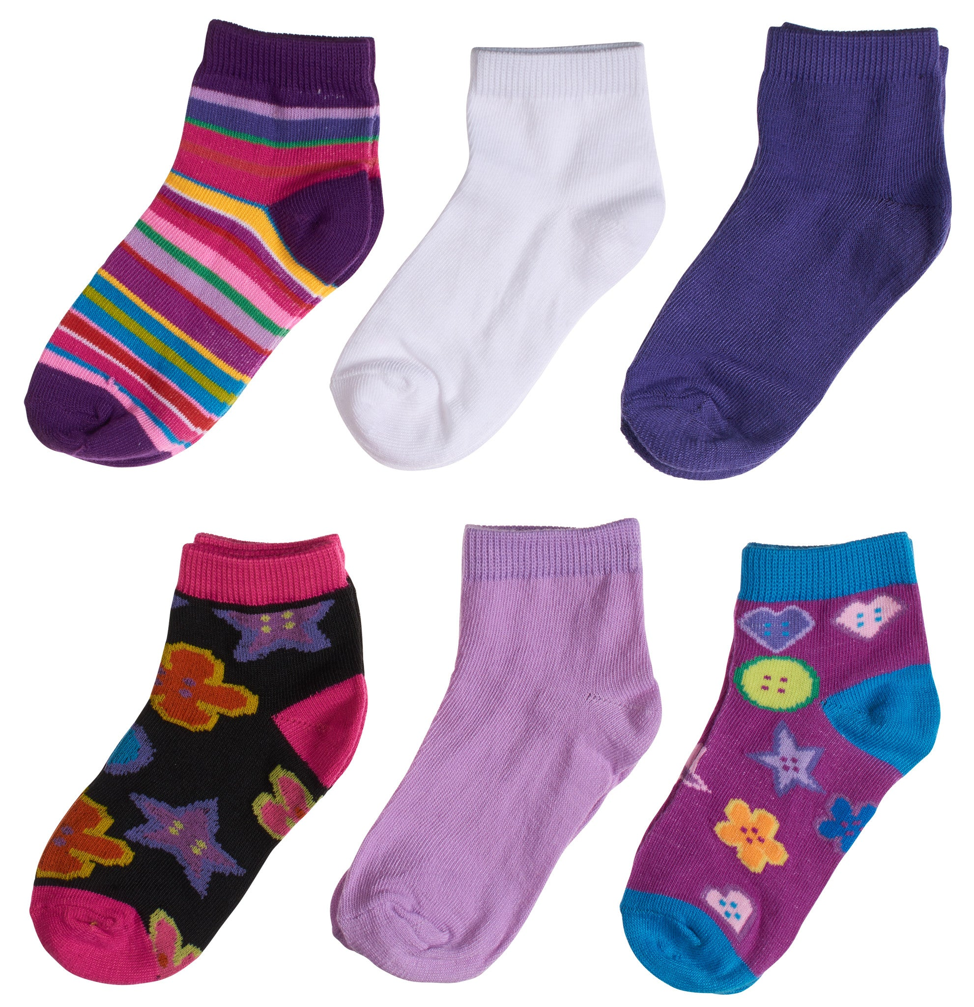 6-Pack Fashion Stripes & Buttons Printed Girls Socks