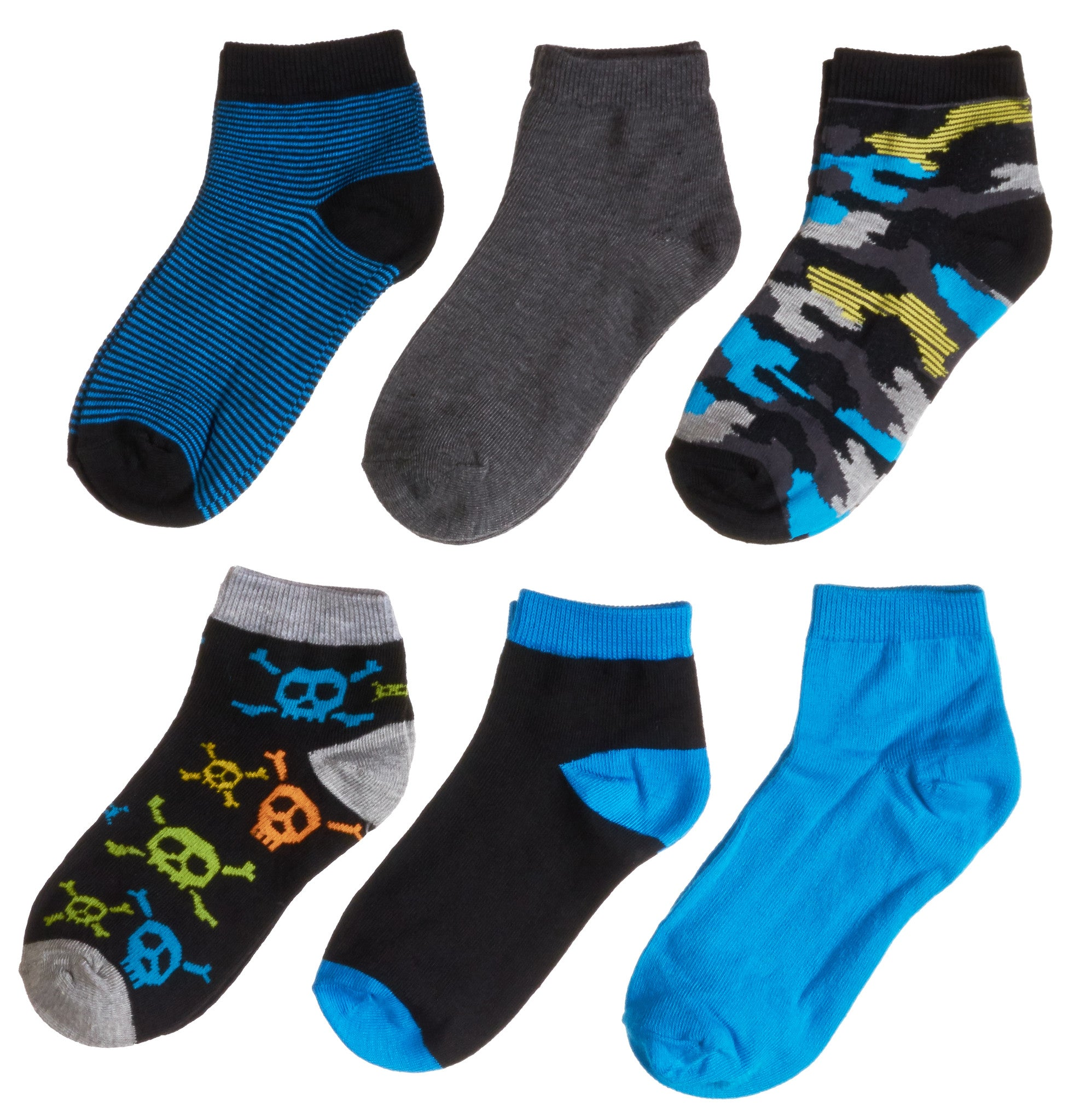6-Pack Skull Camo Stripes Printed Boys Socks
