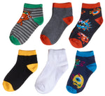 6-Pack Monsters Fun Prints Heel/Toe Accents Socks