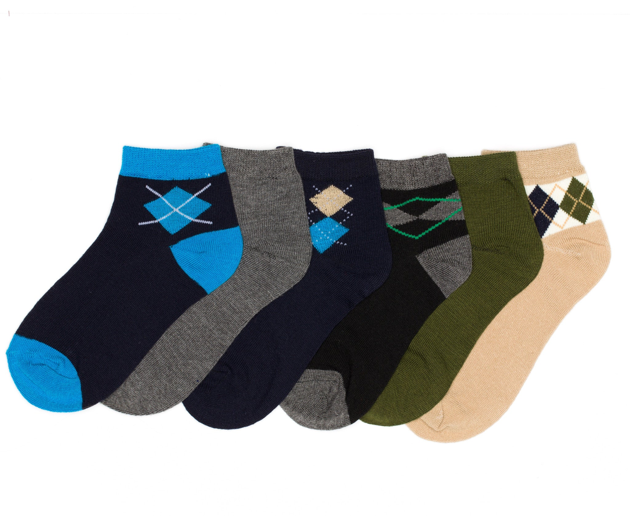 12-Pack Quarter Crew Argyle Boys Socks