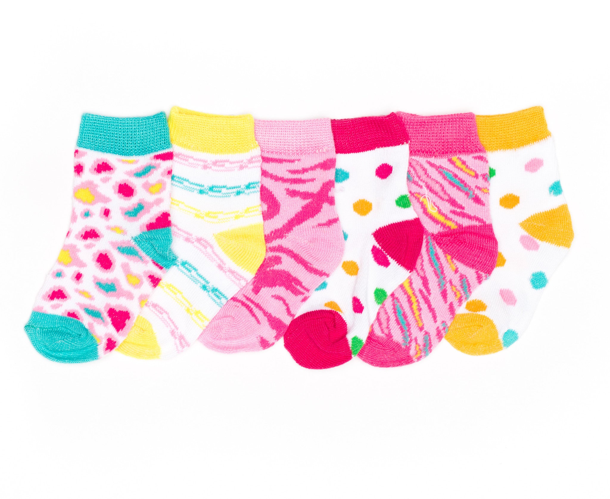 6-Pack Animal Print Polka Dots Baby Girls Socks