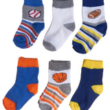 6-Pack Sports Themed Heel Toe Infant Boys Socks