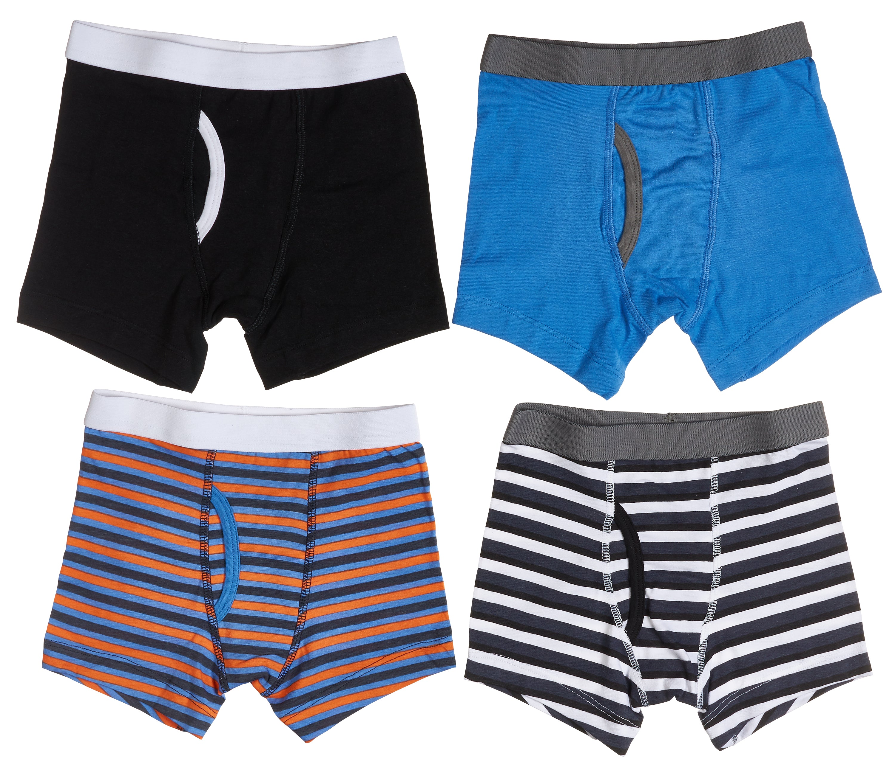 4-Pack Boys Cotton Boxer Briefs Underwear (Blue/Orange/Grey/Black)
