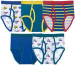 5-Pack Cotton/Spandex Boys Tagless Colorful Briefs (Transportation)