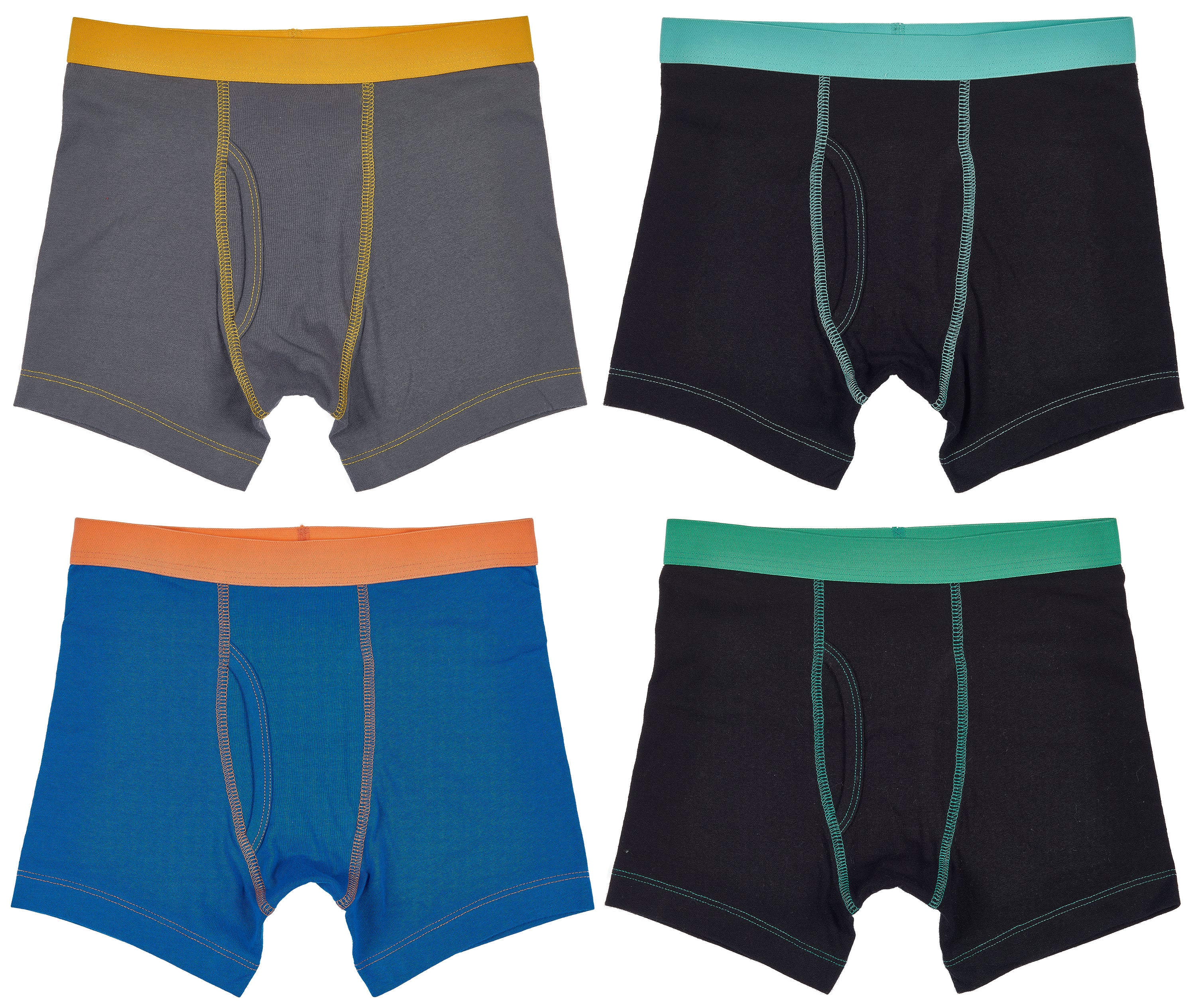 Trimfit Boys Cotton/Spandex Boxer Briefs (Pack Of 4), Multicoloured Trims