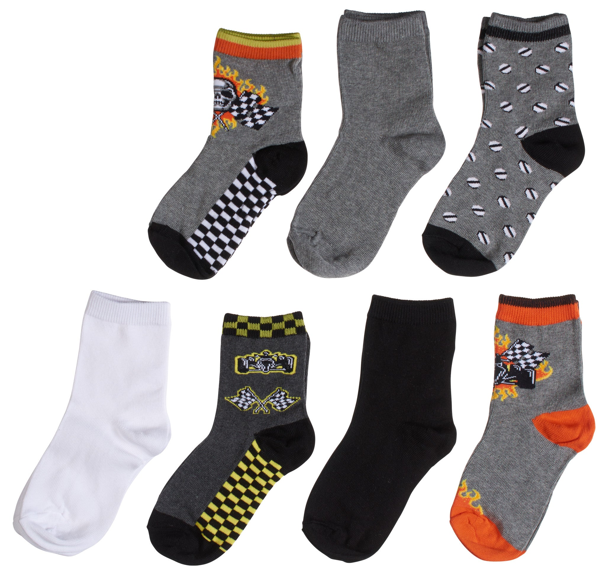 7-Pack Cute Race Car Checkered Flag Bolted Flame Racing Boys Socks