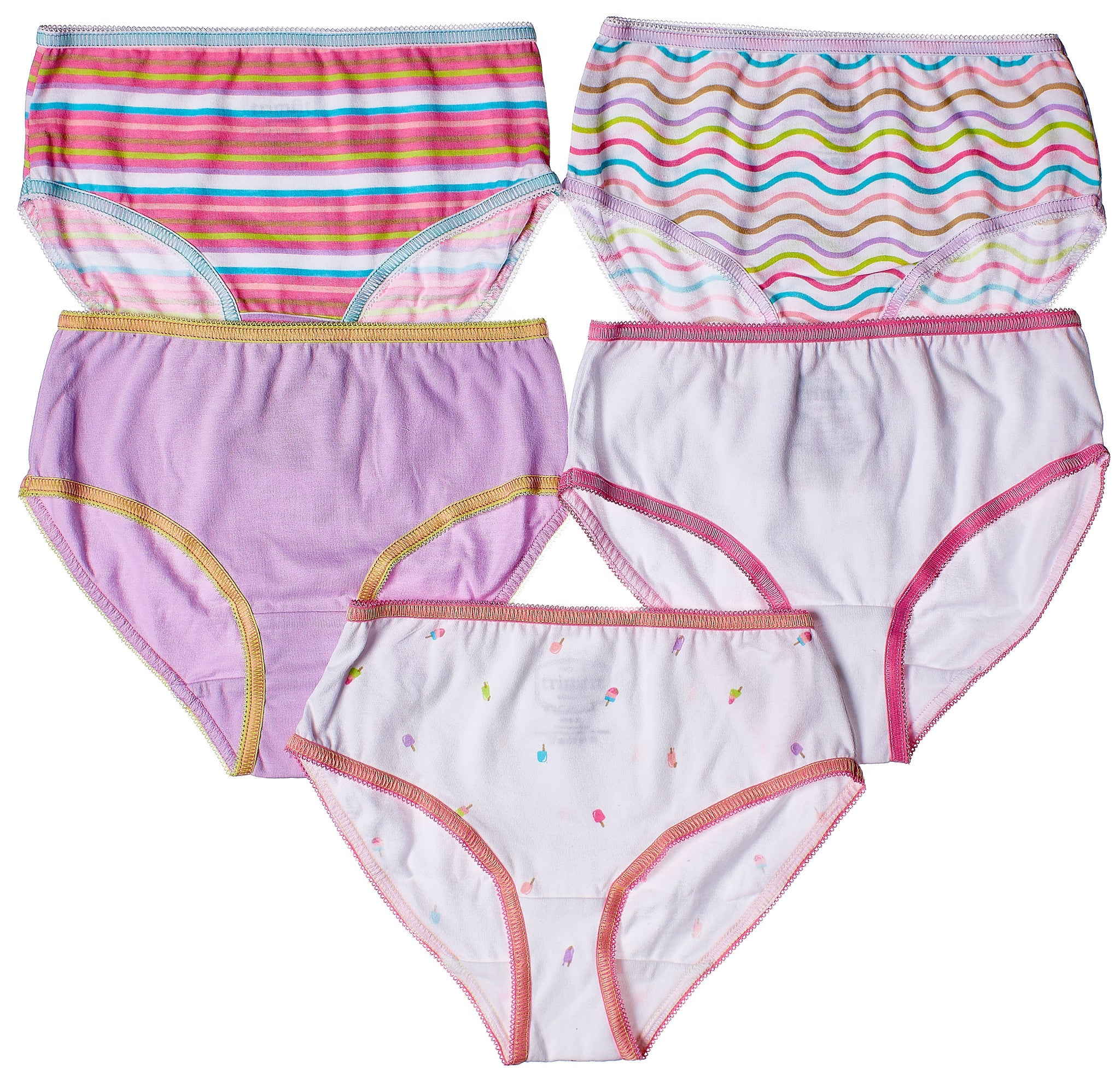 5-Pack Bright Popsicles Tagless Panties 100% Cotton Fashion Prints