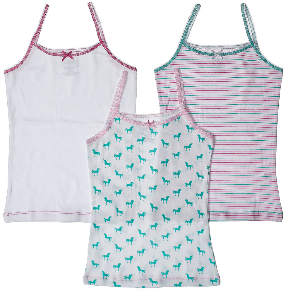 3-Pack Unicorns Camisole Undershirt 100% Cotton Fashion Prints