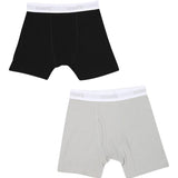 2-Pack 100% Combed Cotton Boxer Briefs (Grey/Black)