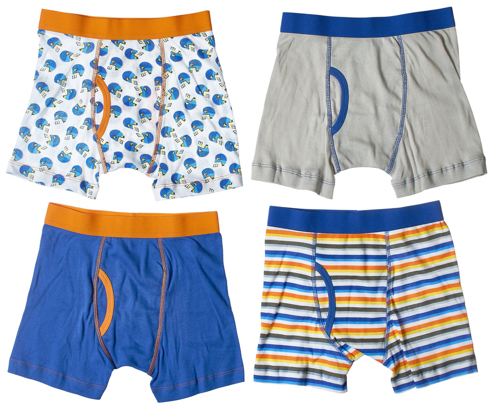 4-Pack Football Stars Boys 100% Cotton Boxer Briefs Underwear