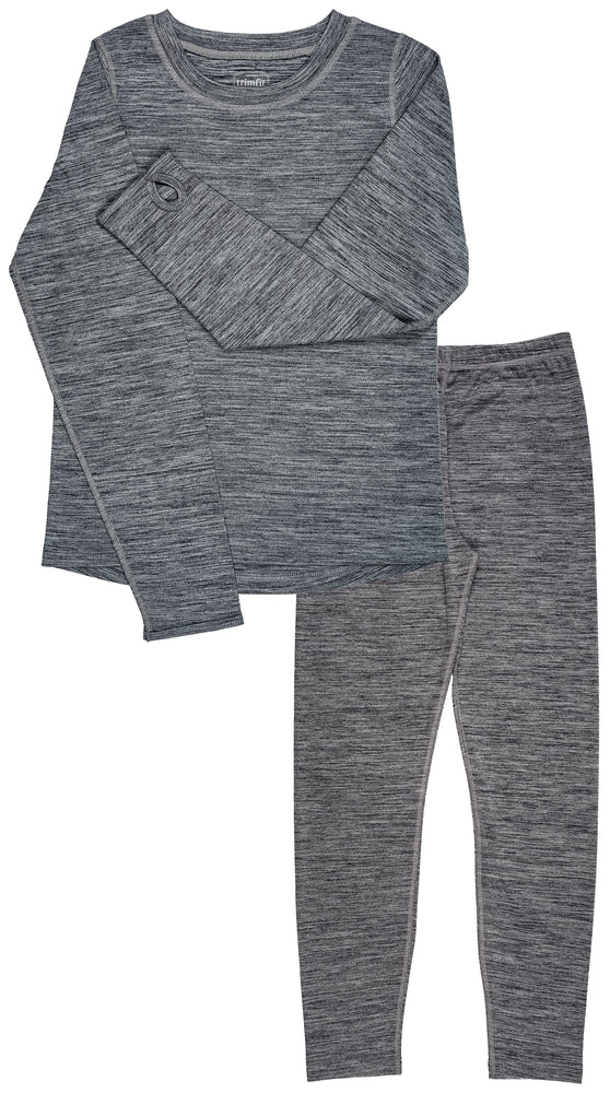 Trimfit Girls Space Dye Long-Sleeve w/Thumbholes Long Underwear Thermal Set, Grey