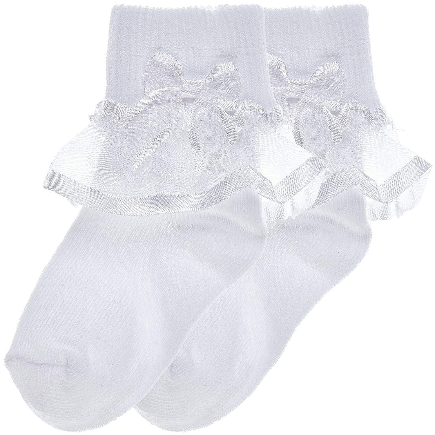 2-Pack Sheer Ribbon & Bow Turncuff Socks (White)