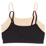 Girls 2-Pack Seamless Performance Crop Bra (Nude/Black)