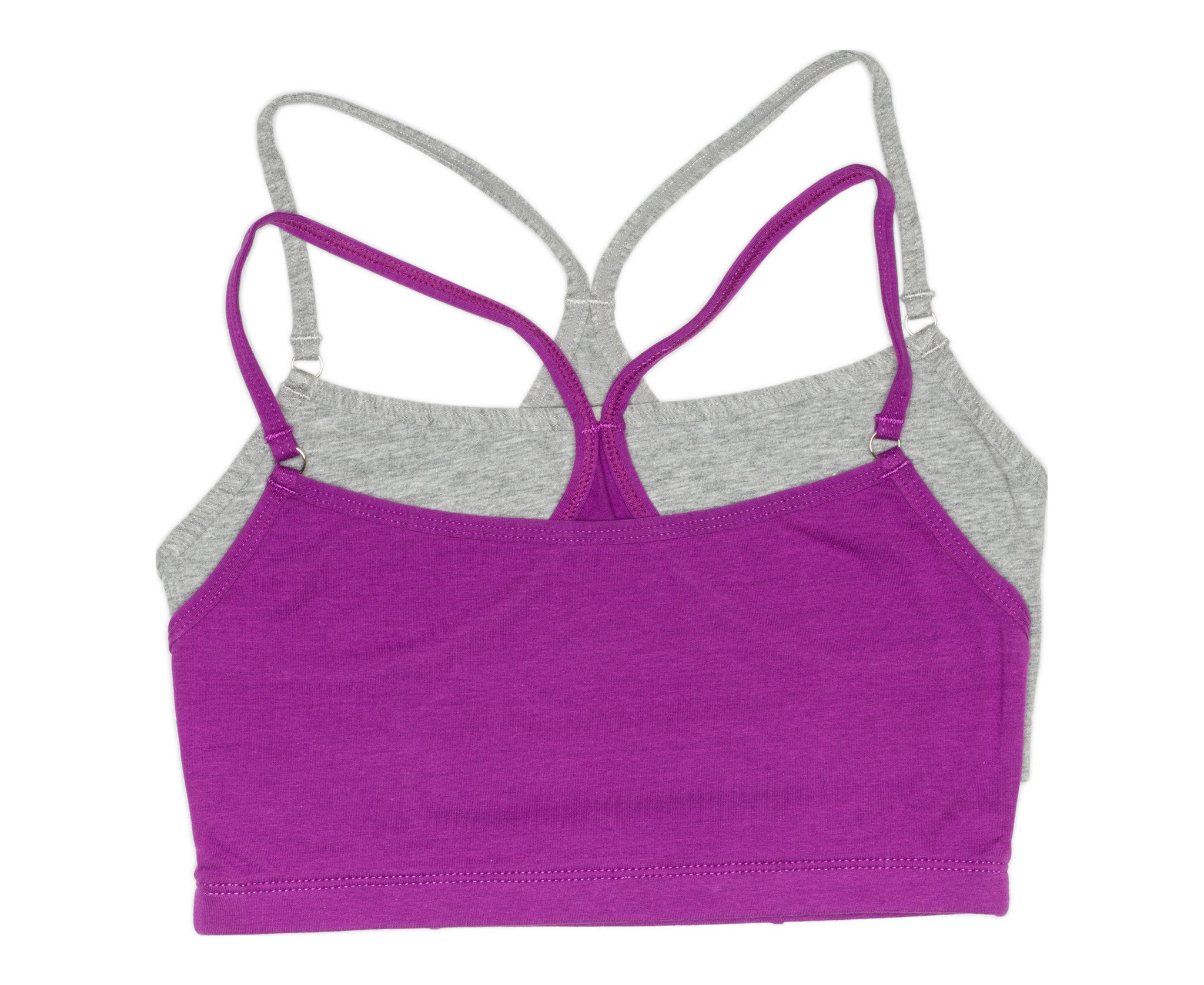 Girls 2-Pack Racerback Crop Bra  (Grey Mix/Purple)