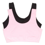 Girls 2-Pack Crop Bra with Built Up Straps (Pink/Black)