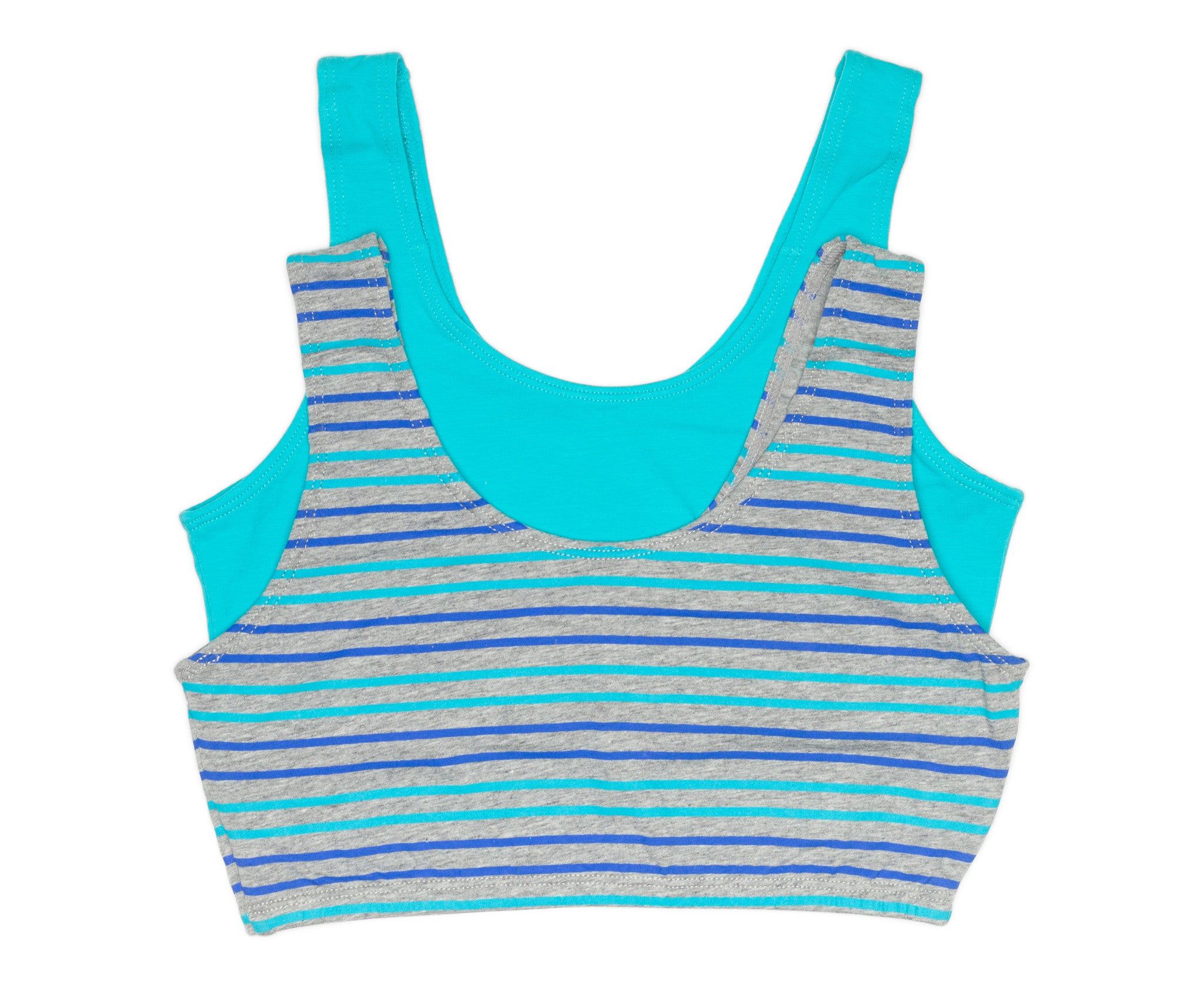 Girls 2-Pack Crop Bra with Built Up Straps (Aqua/Grey Mix Stripes)