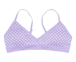 Girls Seamless Bralette Purple / White Hearts