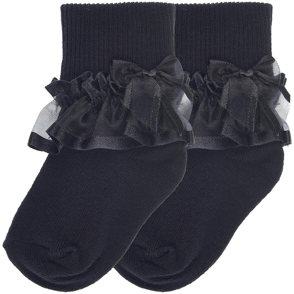 2-Pack Sheer Ribbon & Bow Turncuff Socks (Black)