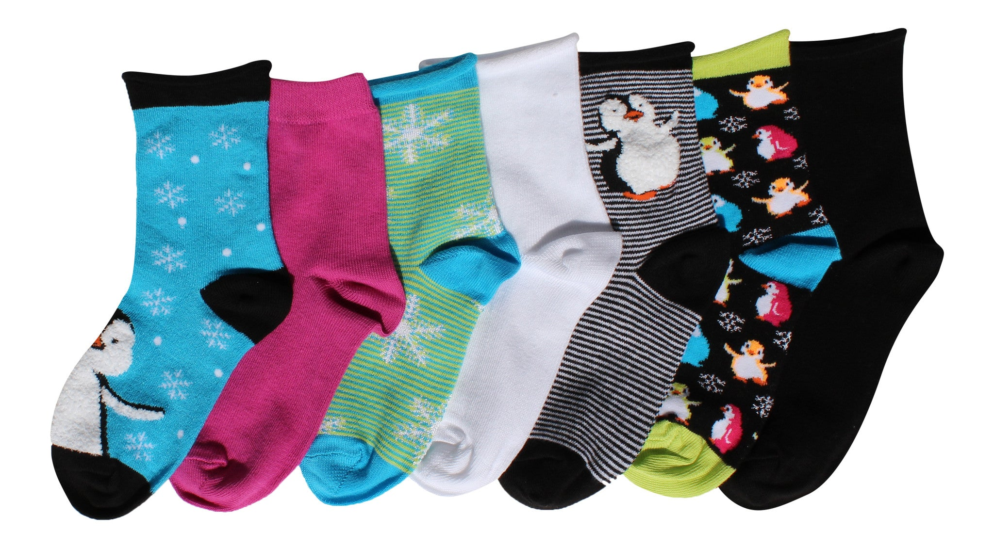 7-Pack Cute Penguin Snowflake Shiny Winter Fun Girls Socks