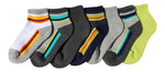 7-Pack Cute Athletic Multi Striped Quarter Cut Cool Color Socks
