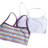 Girls 2-Pack Racerback Crop Bra  (White/Purple Multi Zigzag)