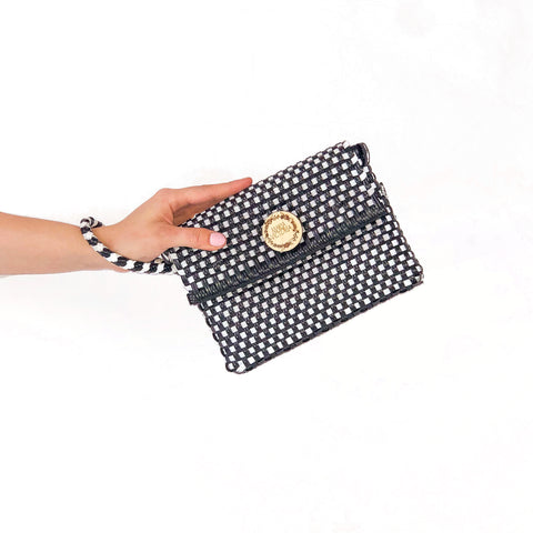 Handmade Mexican Wristlet - Carlota - Checkers Black and White