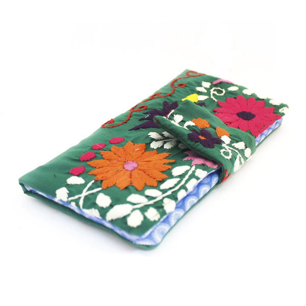Mexican Hand Embroidered Bifold Wallet -Kelly Green