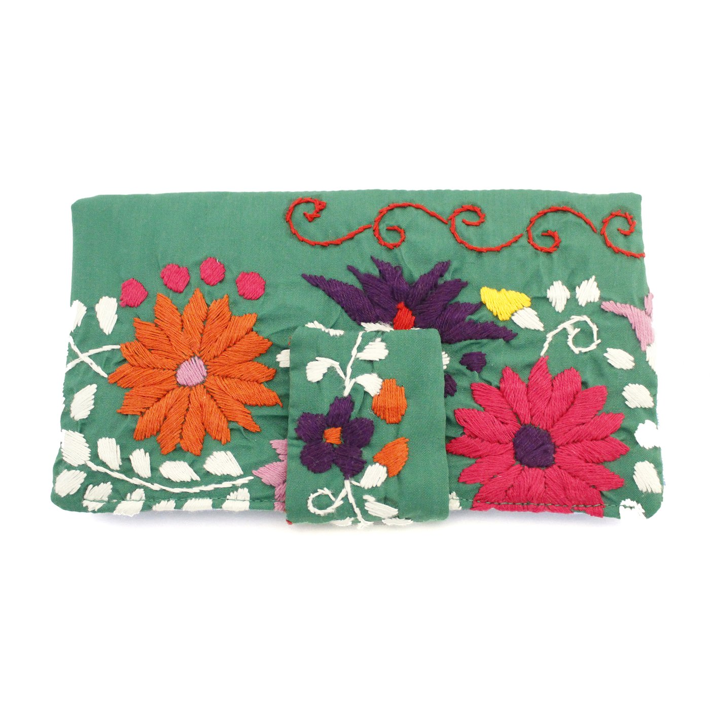 Mexican Hand Embroidered Bifold Wallet - Kelly Green