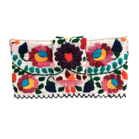 Mexican Hand Embroidered Bifold Wallet - Linen
