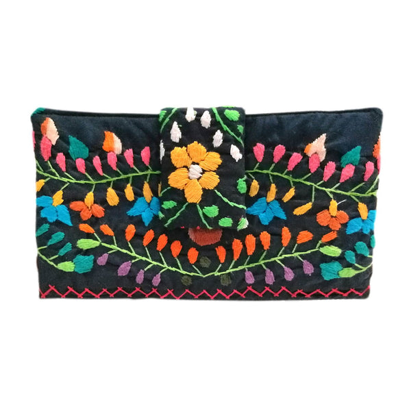 Mexican Hand Embroidered Bifold Wallet - Navy