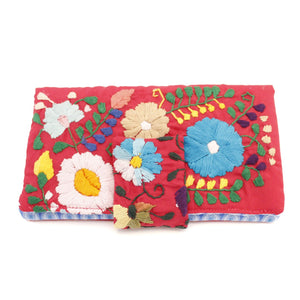 Mexican Hand Embroidered Bifold Wallet - Pink