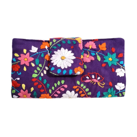Mexican Hand Embroidered Bifold Wallet - Purple