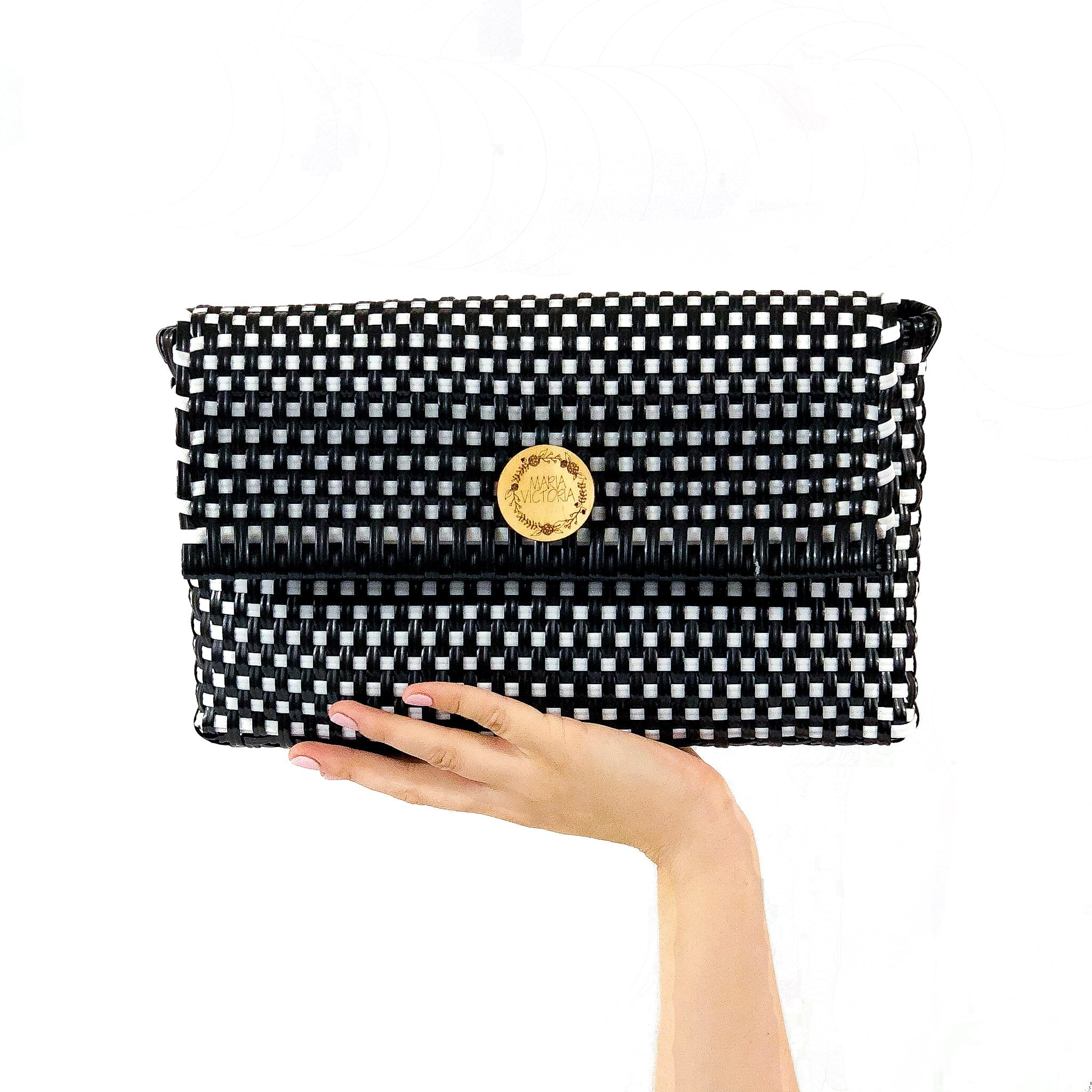Handmade Mexican Clutch - Dear Diego - Checkers Black and White