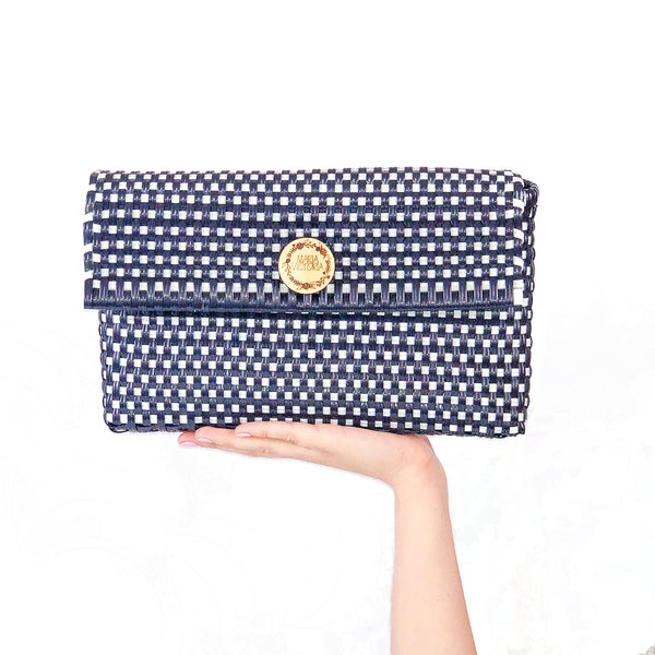 Handmade Mexican Clutch - Dear Diego - Checkers Navy and White