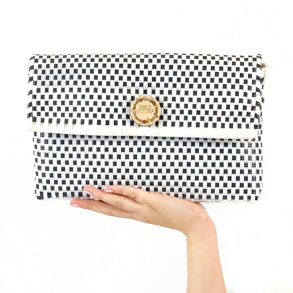 Handmade Mexican Clutch - Dear Diego - Checkers White and Black