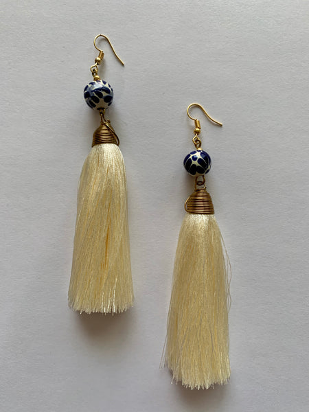 Talavera Gold Tassel Earrings - Long (Multiple Colors Available)
